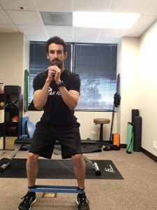 Walking with a band strengthens the gluteus medius muscle to improve hip and low back stability